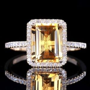 925 Silver Citrine Wedding Party Jewelry Ring